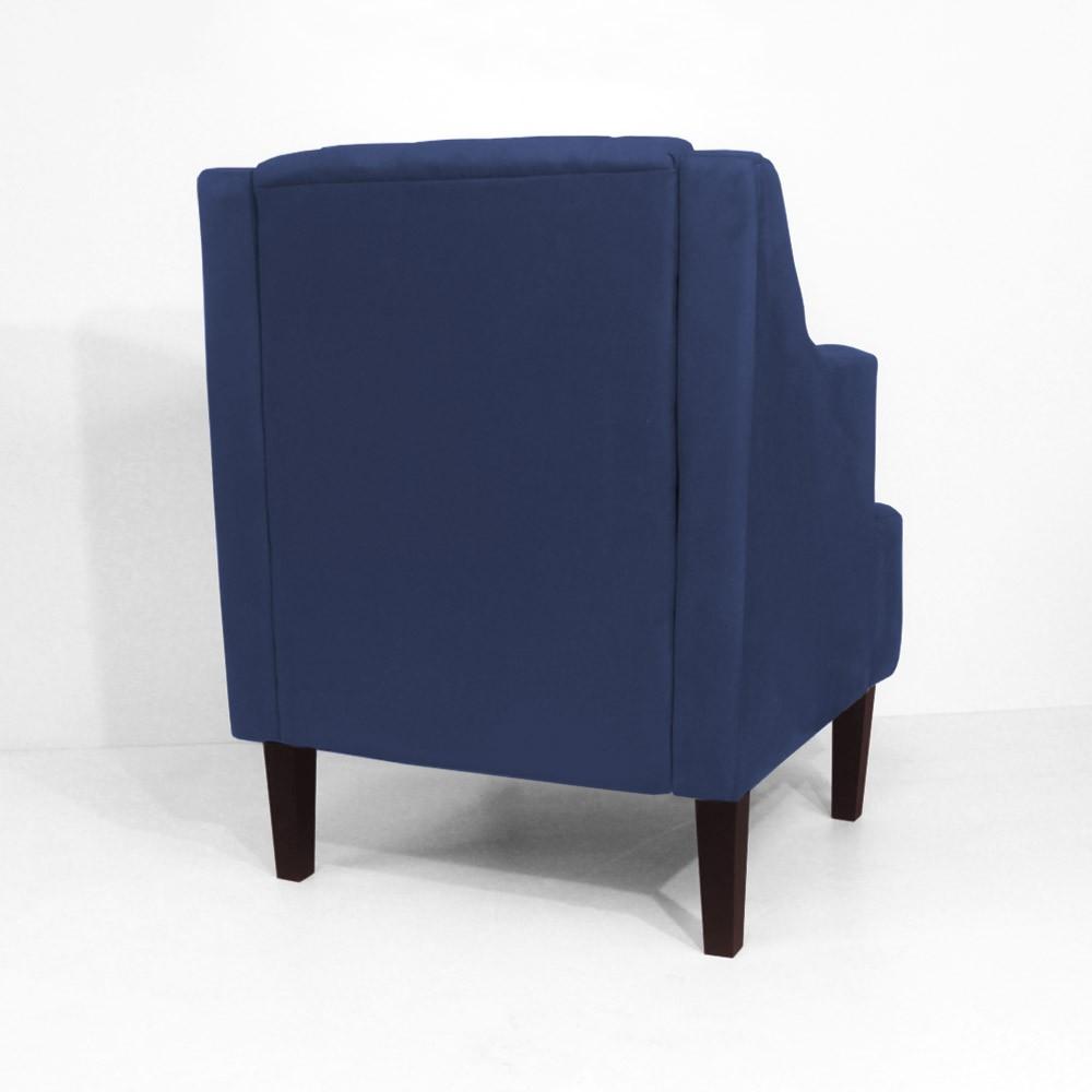 Kit Sofá Namoradeira 120 cm + Poltrona Classic Capitonê Suede Azul Marinho