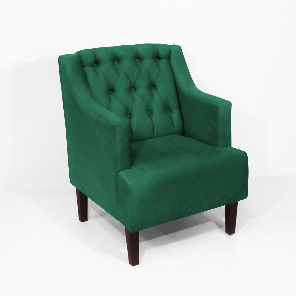 Kit Sofá Namoradeira 120 cm + Poltrona Classic Capitonê Suede Verde Bandeira