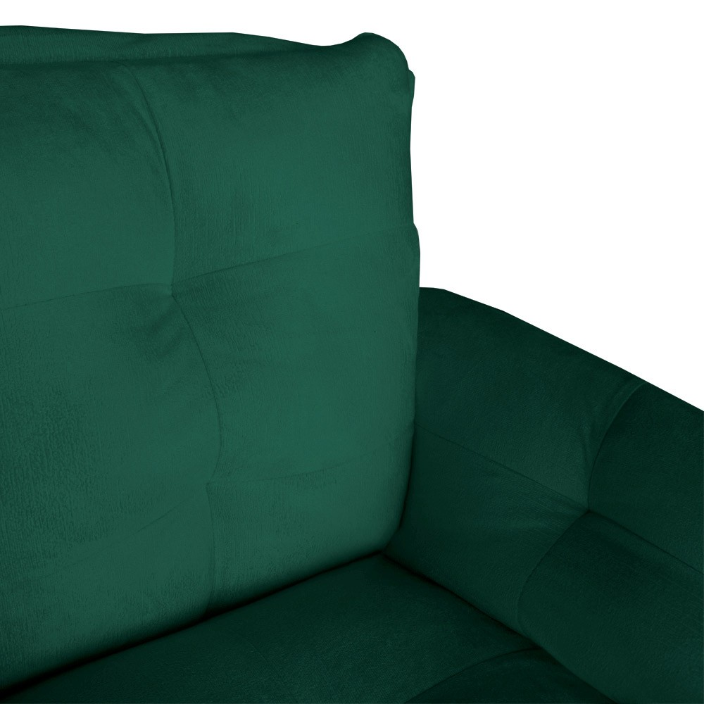 Kit Sofá Namoradeira + 2 Poltrona Opala Suede Verde Bandeira Pé Palito