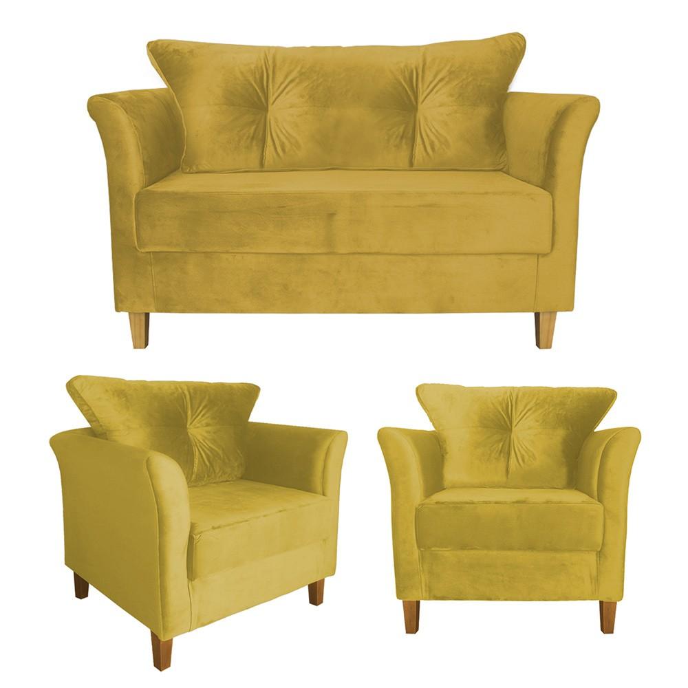 Kit Sofá Namoradeira + 2 Poltronas Ibis Decorativa, Sala Suede Amarelo