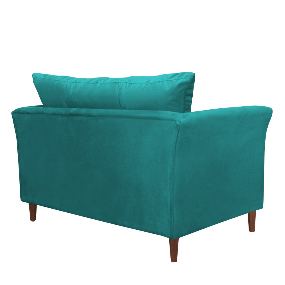 Kit Namoradeira + 2 Poltronas Ibis Sala Suede Azul Tiffany