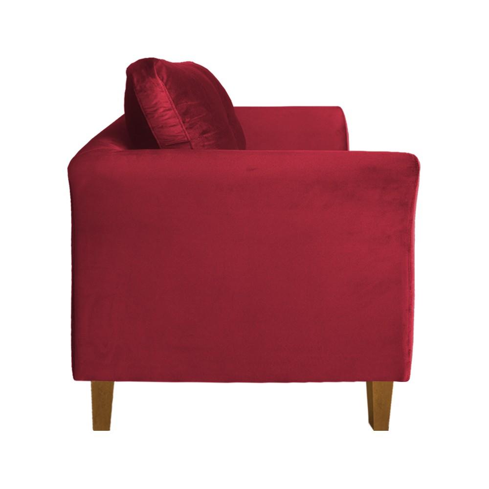Kit Sofá Namoradeira + 2 Poltronas Ibis Decorativa Suede Vermelho