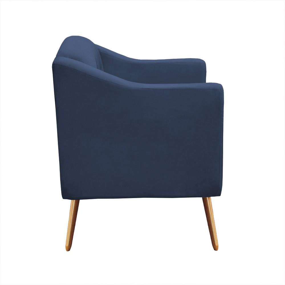 Kit Sofá Namoradeira + Poltrona Bruna Suede Azul Marinho Pé Palito