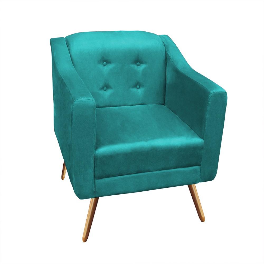 Kit Sofá Namoradeira + Poltrona Bruna Suede Azul Tiffany Pé Palito