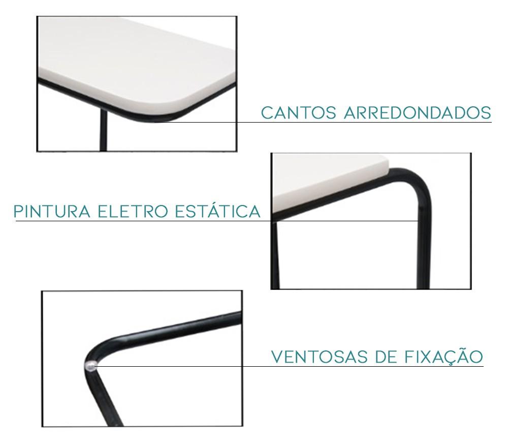 Mesa De Apoio Lateral Para Braço De Sofá Suporte Bandeja Branca Metais Bronze