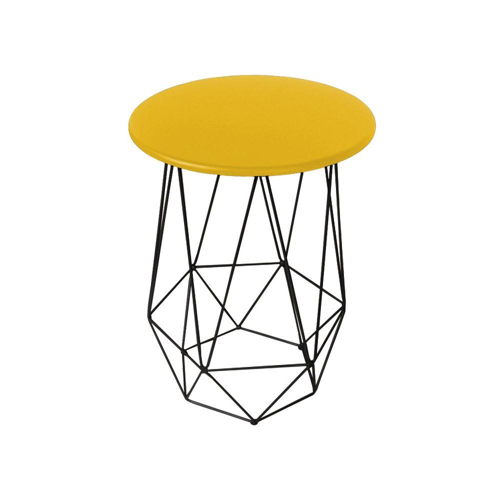 Mesa Lateral Decorativa Eiffel Tampo Amarelo Aramado Preto