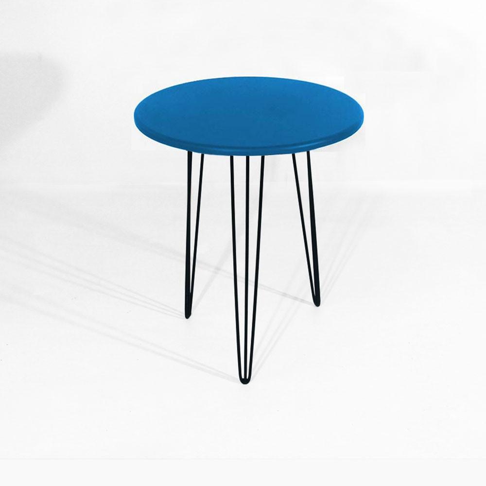 Mesa Lateral Decorativa Sandy Pés Hairpin Legs Preto Tampo Azul