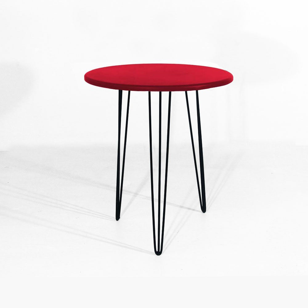 Mesa Lateral Decorativa Sandy Pés Hairpin Legs Preto Tampo Vermelho