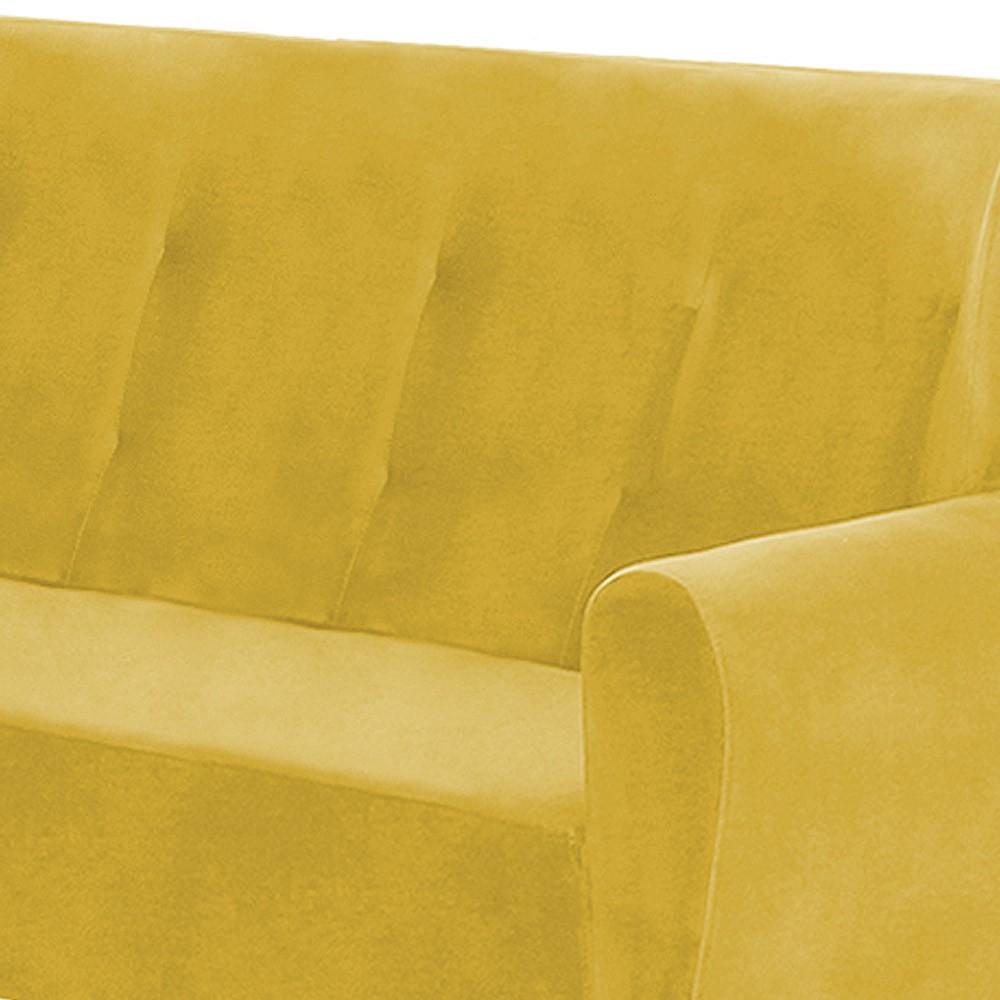 Namoradeira Astra 1,40m 2 Lugares com Pés Palito Suede Amarelo