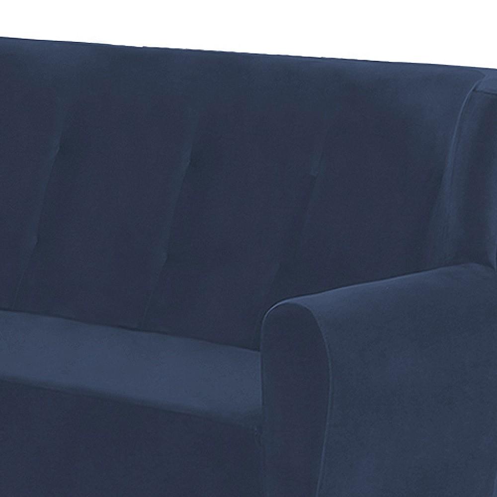Namoradeira Astra 1,40m 2 Lugares com Pés Palito Suede Azul Marinho