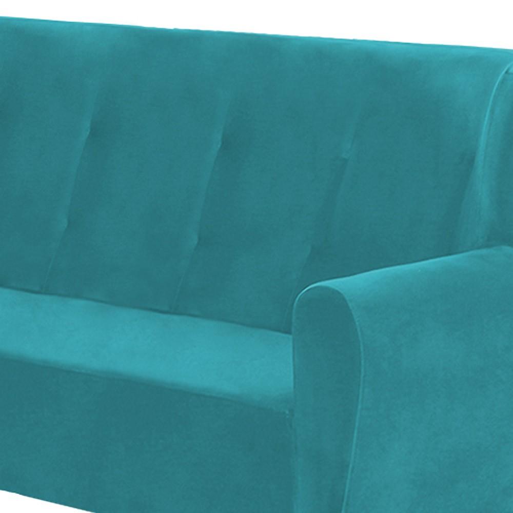 Namoradeira Astra 1,40m 2 Lugares com Pés Palito Suede Azul Tiffany