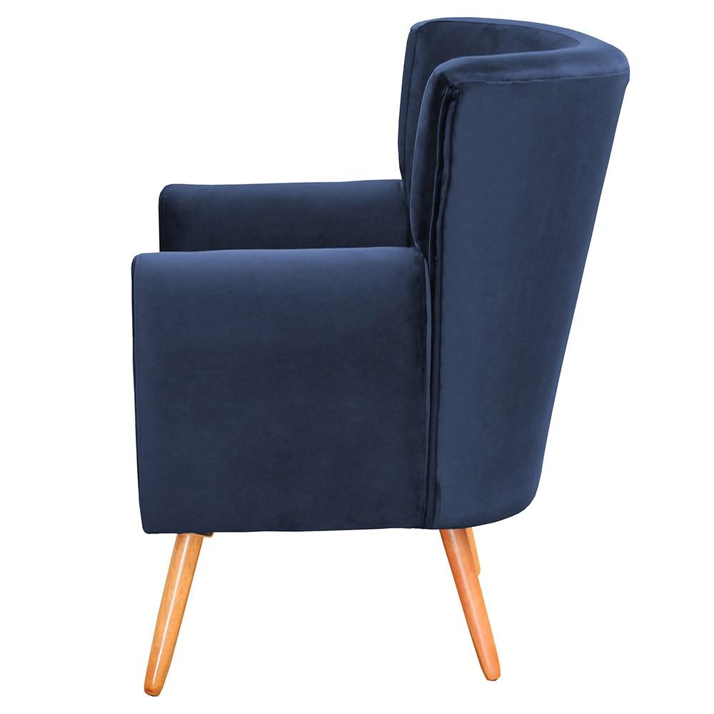 Poltrona Decorativa Pés Palito Astra Suede Azul Marinho