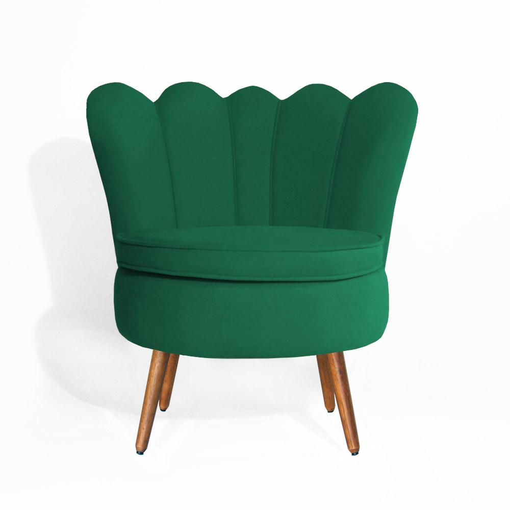 Poltrona Decorativa Dália Pés Palito Suede Verde