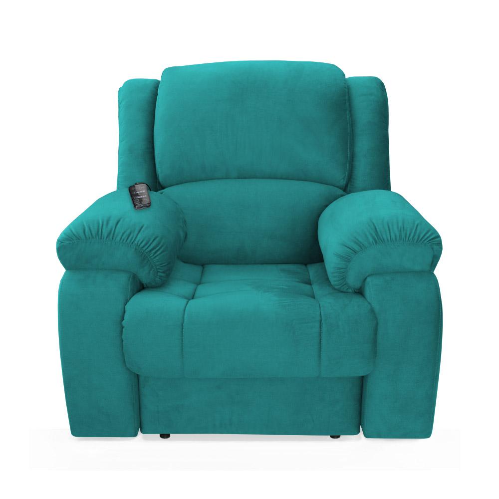 Poltrona Decorativa Magnum Reclinável Elétrica com Massagem Suede Azul Tiffany