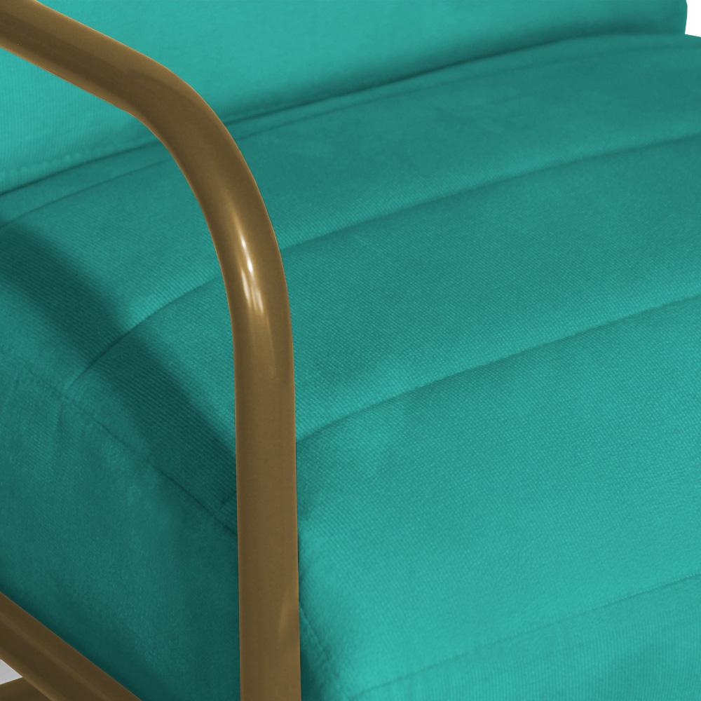 Poltrona Decorativa Melissa Base Dourado Suede Azul Tiffany
