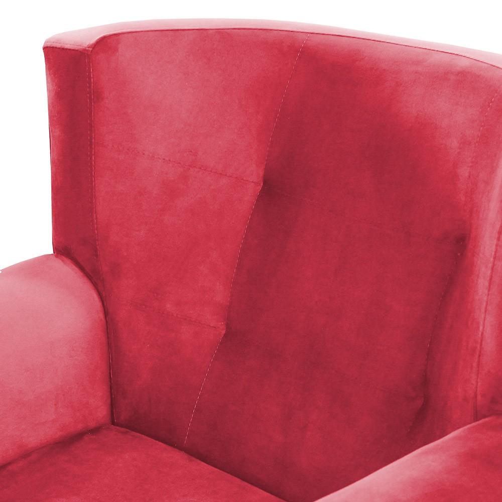 Poltrona Decorativa Pés Palito Astra Suede Vermelho