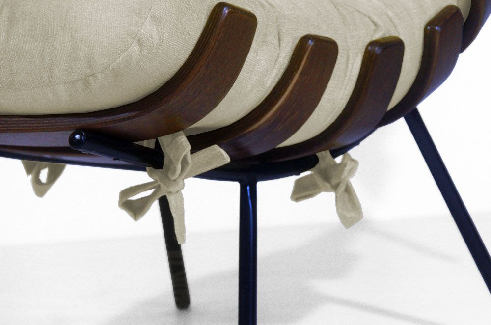 Poltrona Costela Decorativa Suede Bege Promoção Design