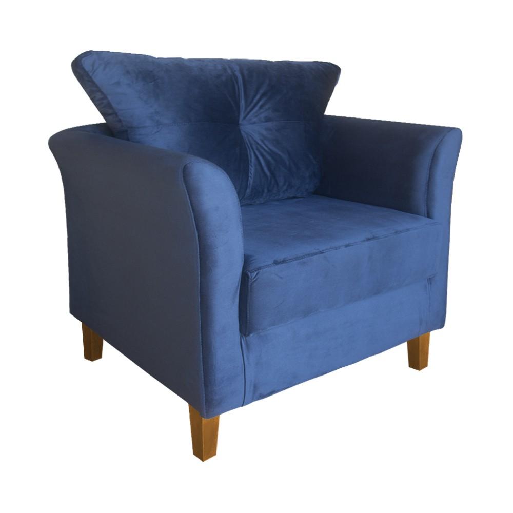 Poltrona Decorativa Ibis Recepção Oferta Suede Azul Marinho