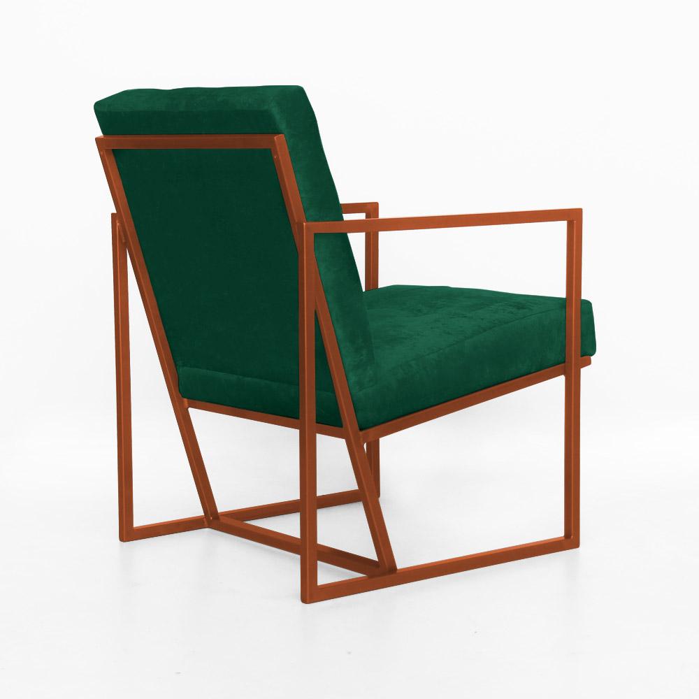 Poltrona Megan Decorativo Base Bronze Suede Verde Bandeira