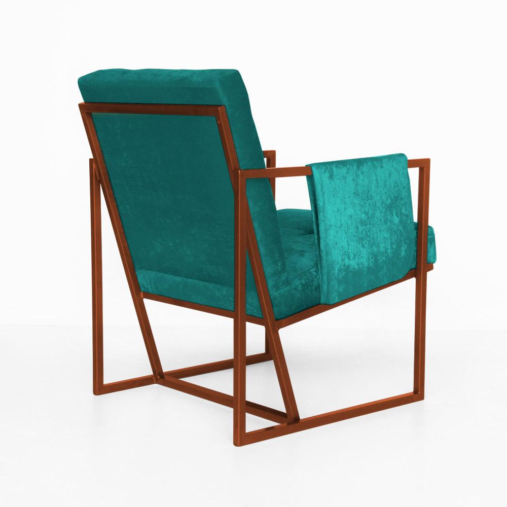 Poltrona Megan Luxo  Decorativo Base Bronze Suede Azul Tiffany