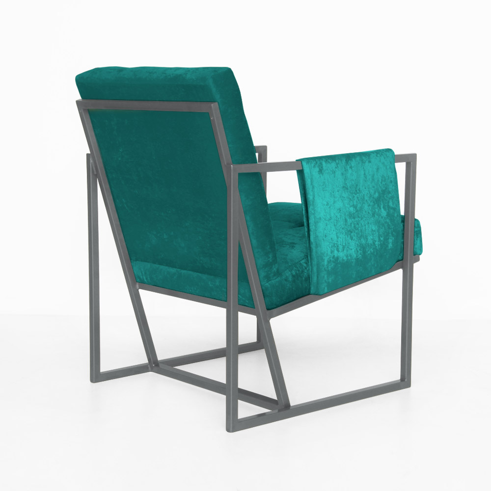 Poltrona Megan Luxo  Decorativo Base Prata Suede Azul Tiffany