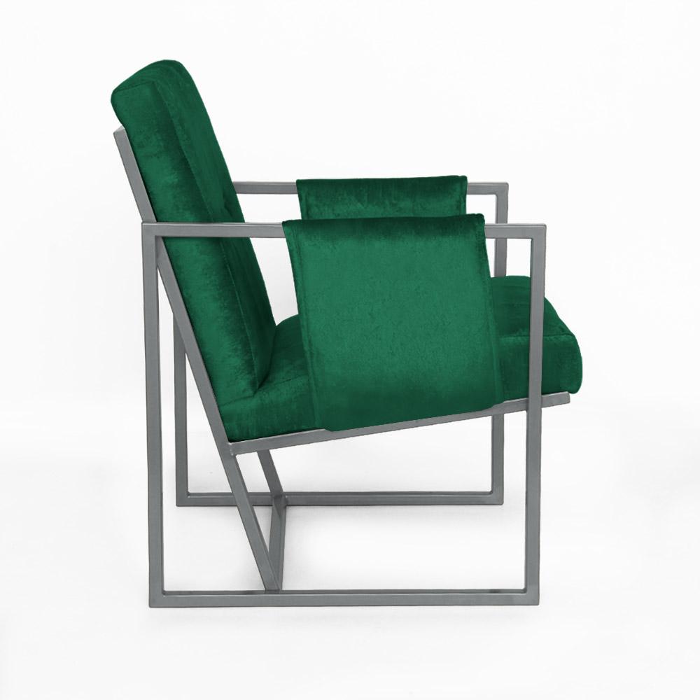 Poltrona Megan Luxo  Decorativo Base Prata Suede Verde Bandeira