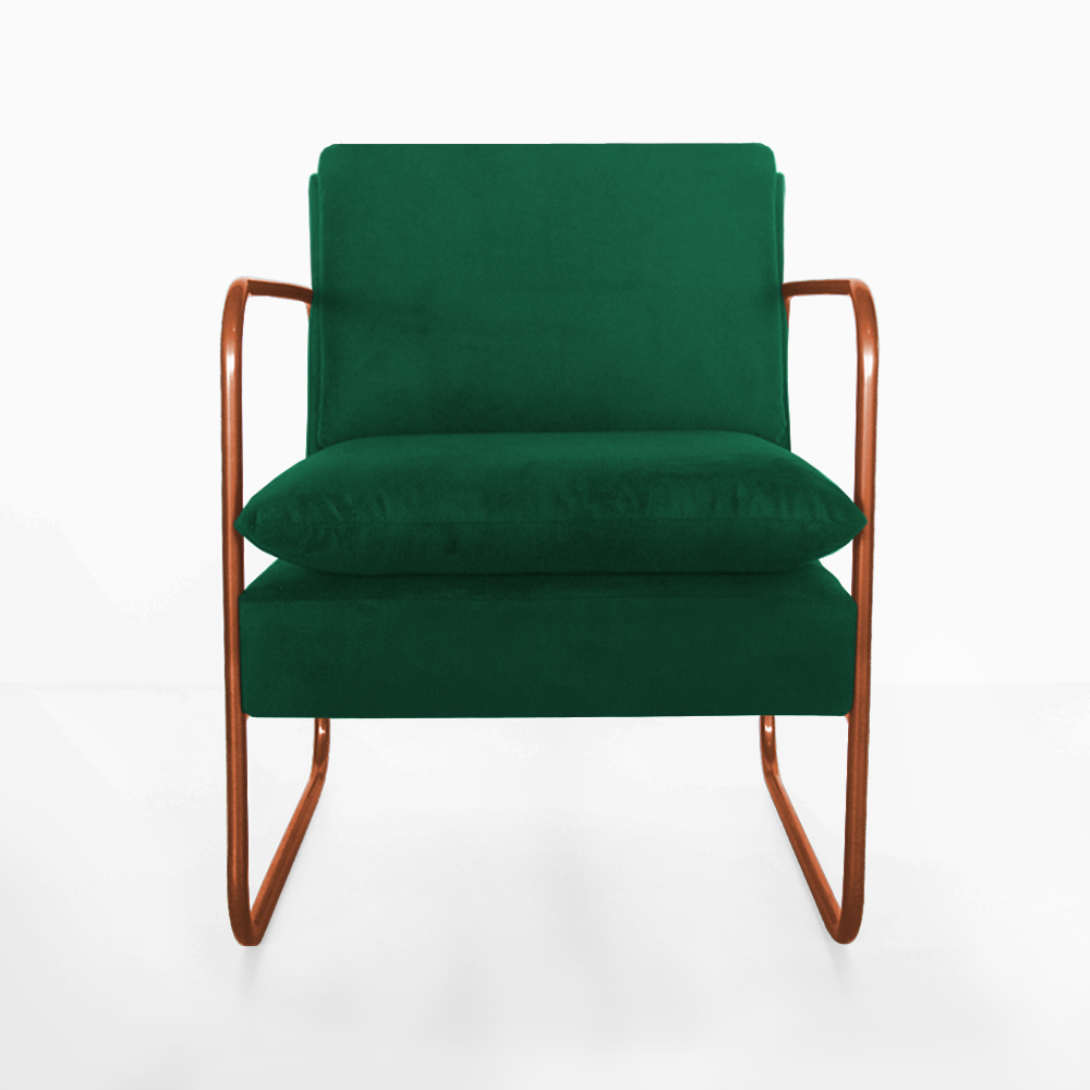 Poltrona Naomi Decorativa Base Bronze Suede Verde Bandeira