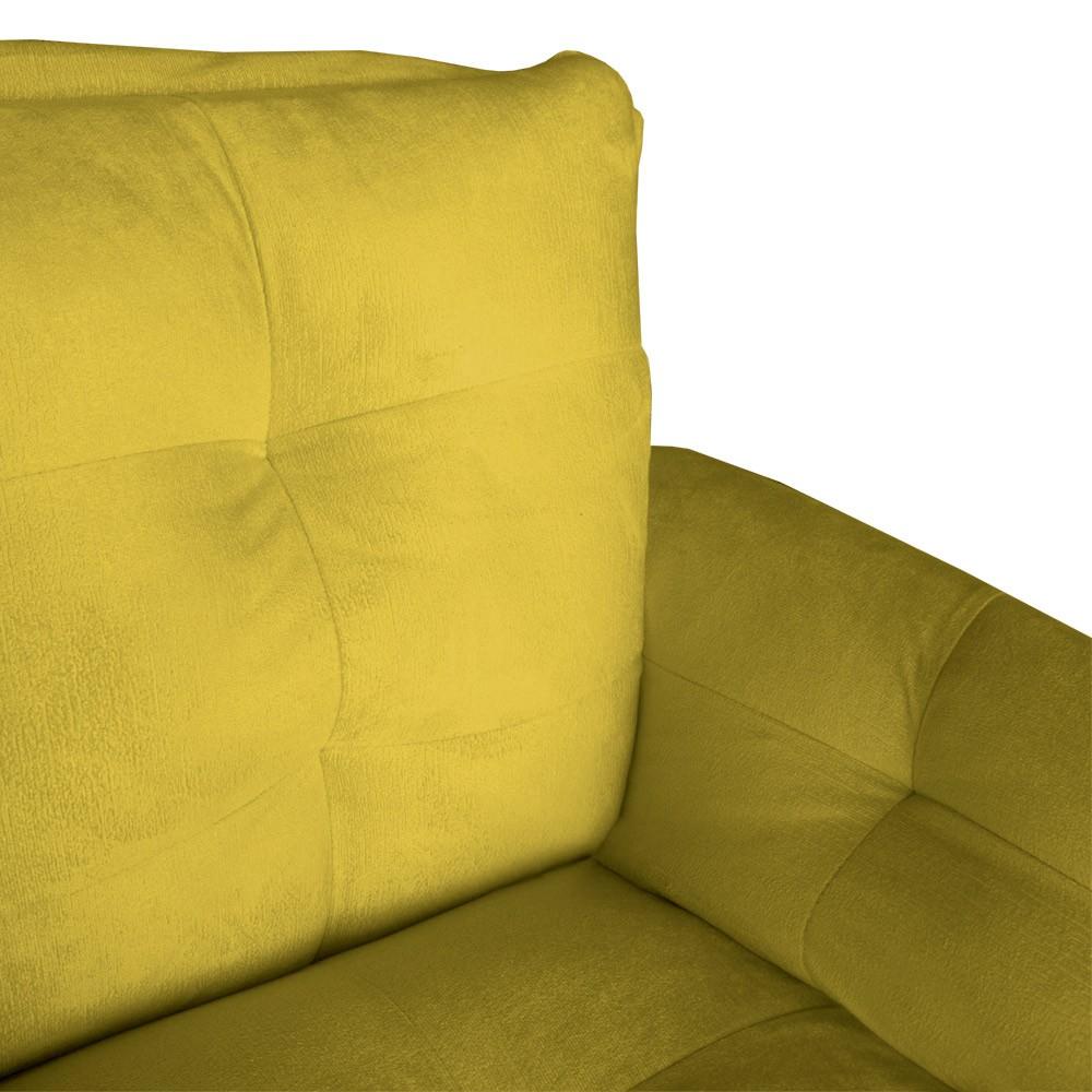 Poltrona Opala Decorativa Bella Pé Palito Suede Amarelo
