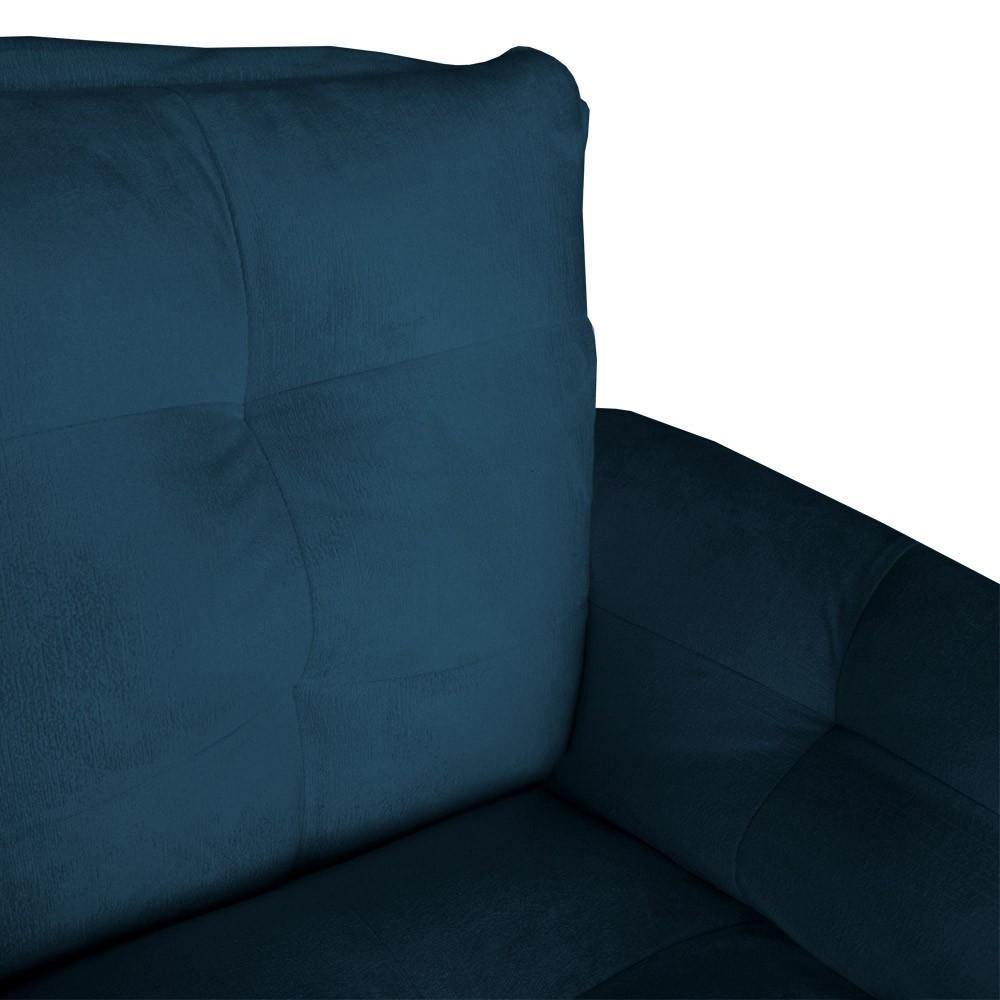 Poltrona Opala Decorativa Bella Pé Palito Suede Azul Marinho