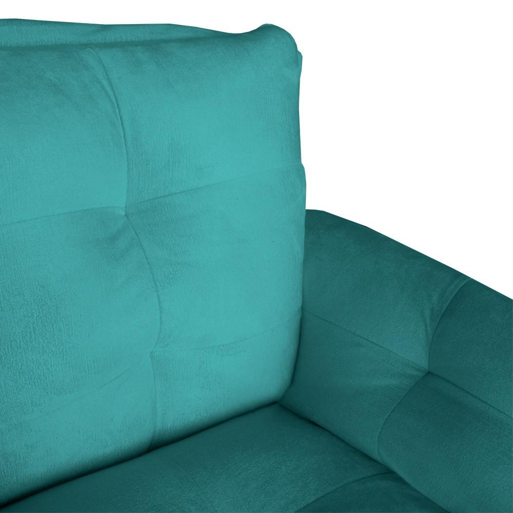 Poltrona Opala Decorativa Bella Pé Palito Suede Azul Tiffany