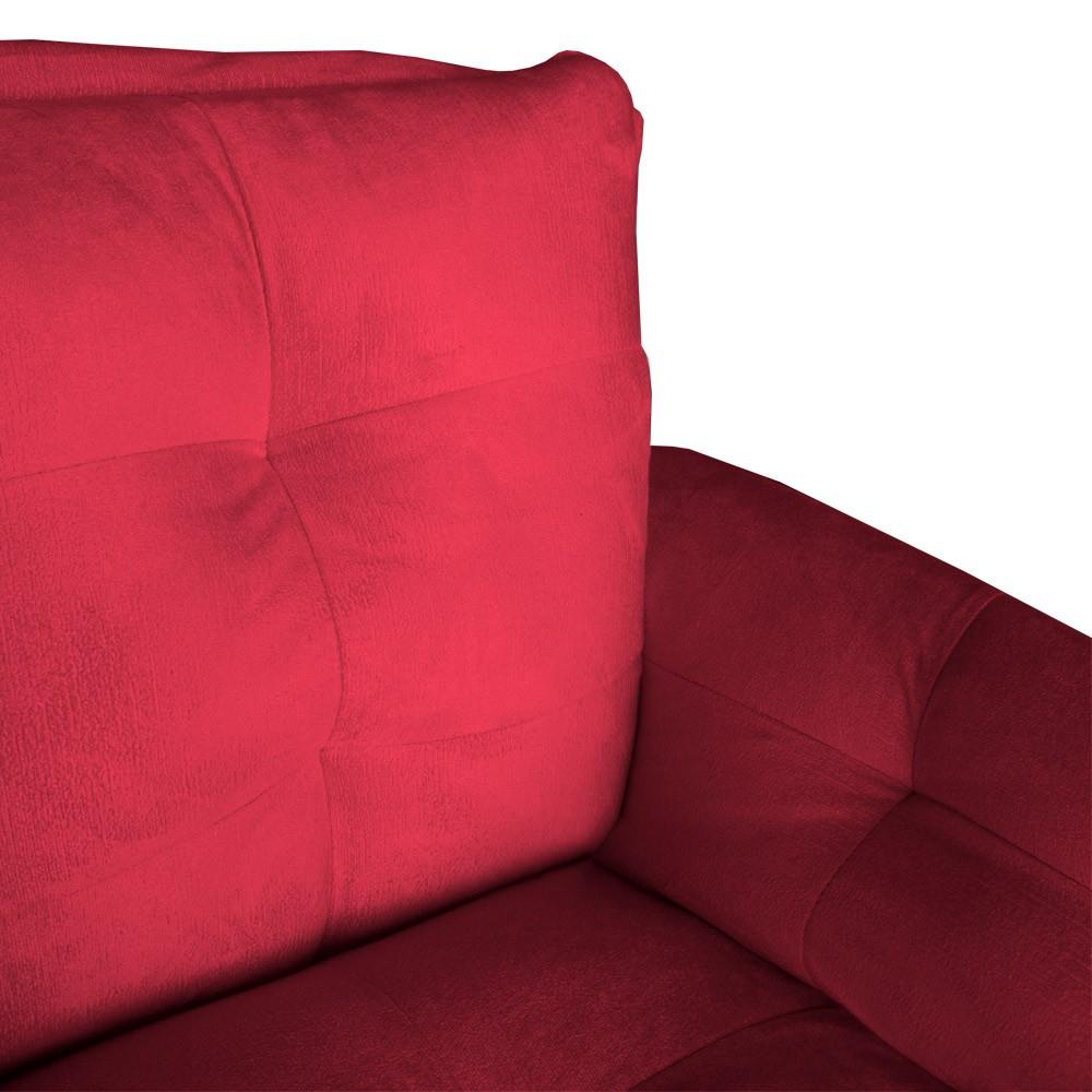 Poltrona Opala Decorativa Bella Pé Palito Suede Vermelho