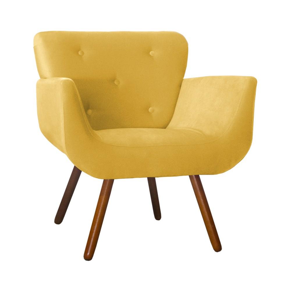 Poltrona Decorativa Pés Palito Patty Suede Amarelo