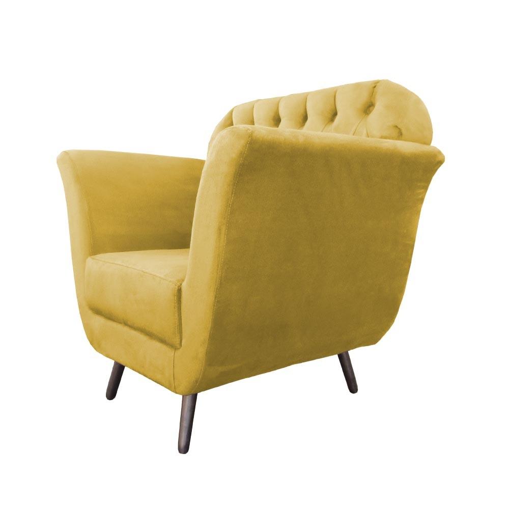 Poltrona Jennifer Decorativa Pé Palito Suede Amarelo