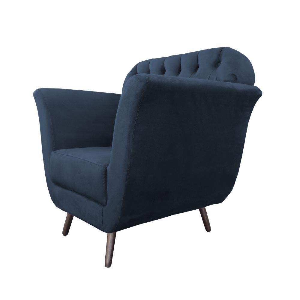 Poltrona Jennifer Decorativa Pé Palito Suede Azul Marinho