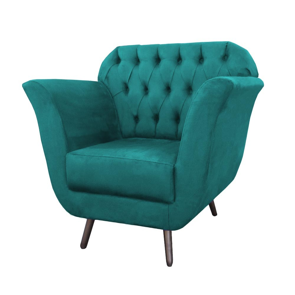 Poltrona Jennifer Decorativa Pé Palito Suede Azul Tiffany