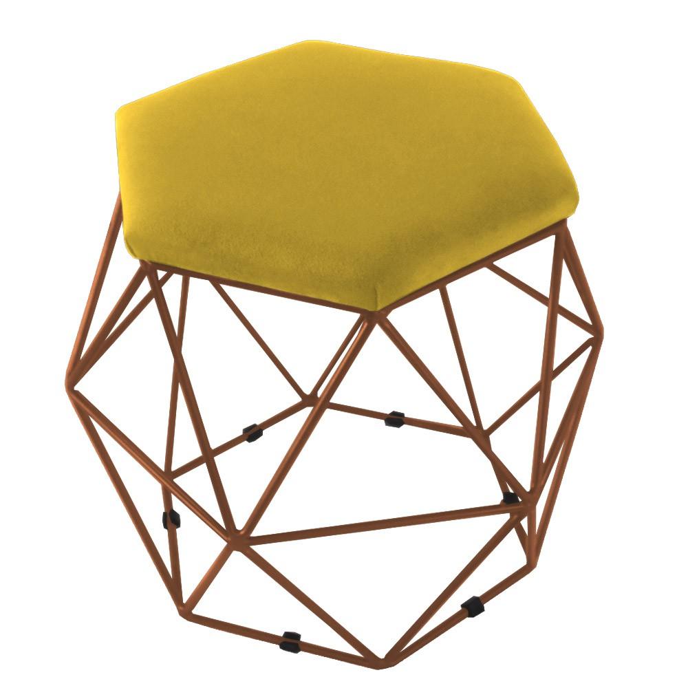 Puff Aramado Bronze Eiffel para Sala Suede Amarelo