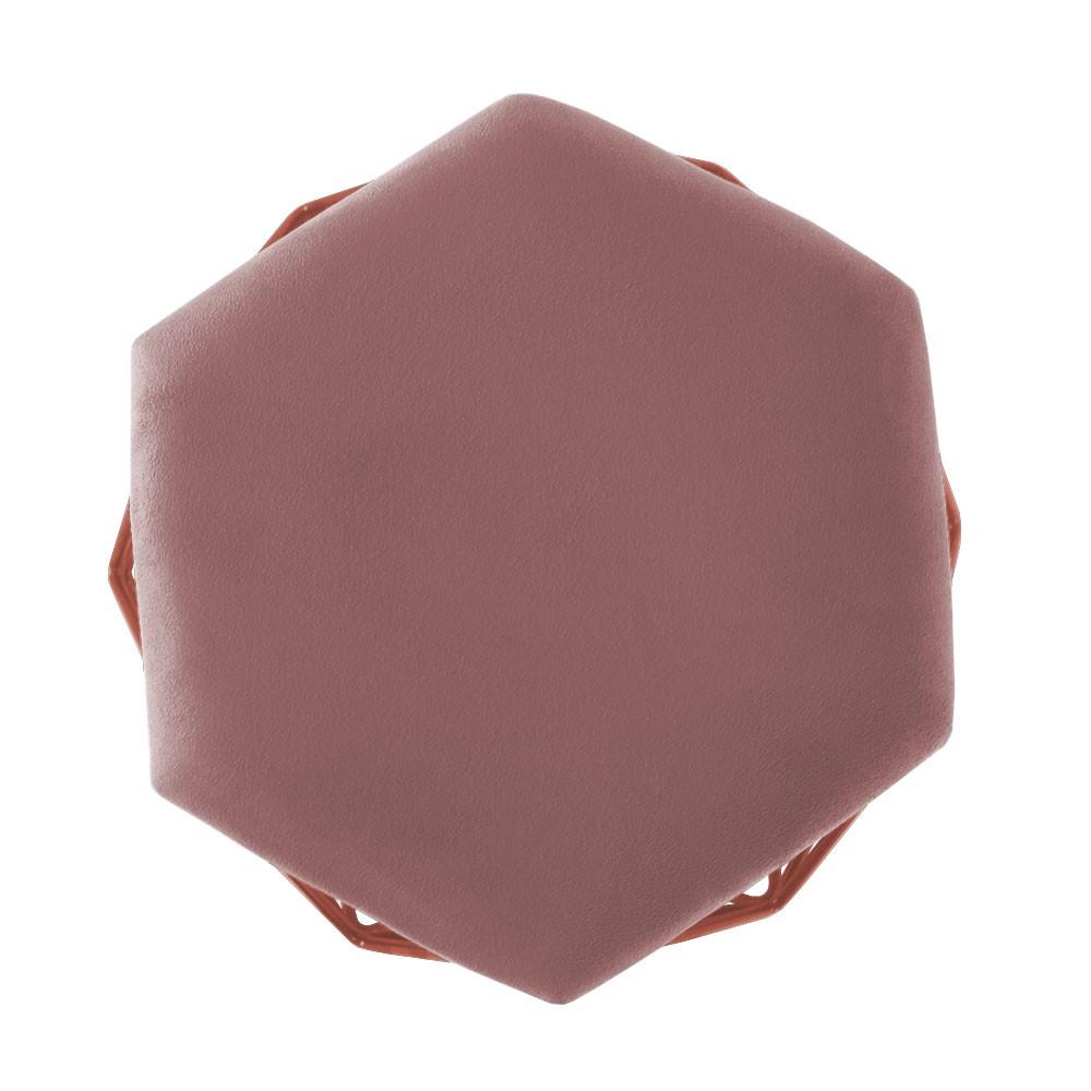 Puff Decorativo Aramado Bronze Crepe Hexágono Geométrico