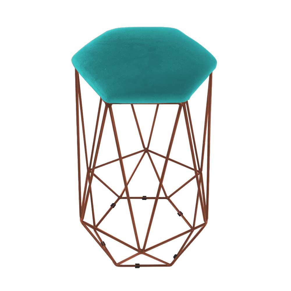 Puff Banqueta Aramado Eiffel Hexágono bronze Assento Azul Tiffany