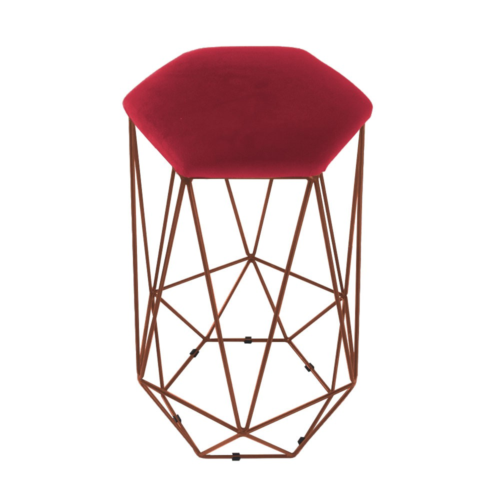 Puff Banqueta Aramado Eiffel Hexágono bronze Assento Vermelho