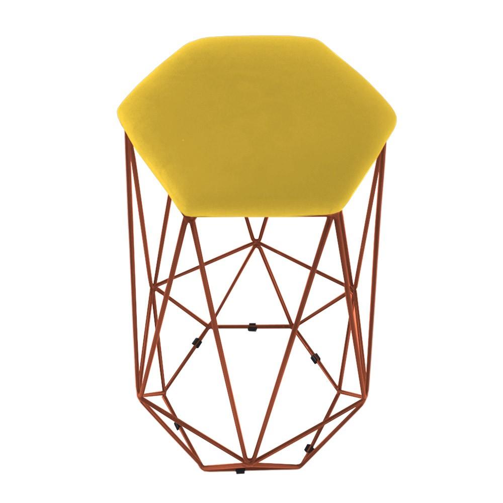 Puff Banqueta Aramado Eiffel Hexágono bronze Assento Amarelo