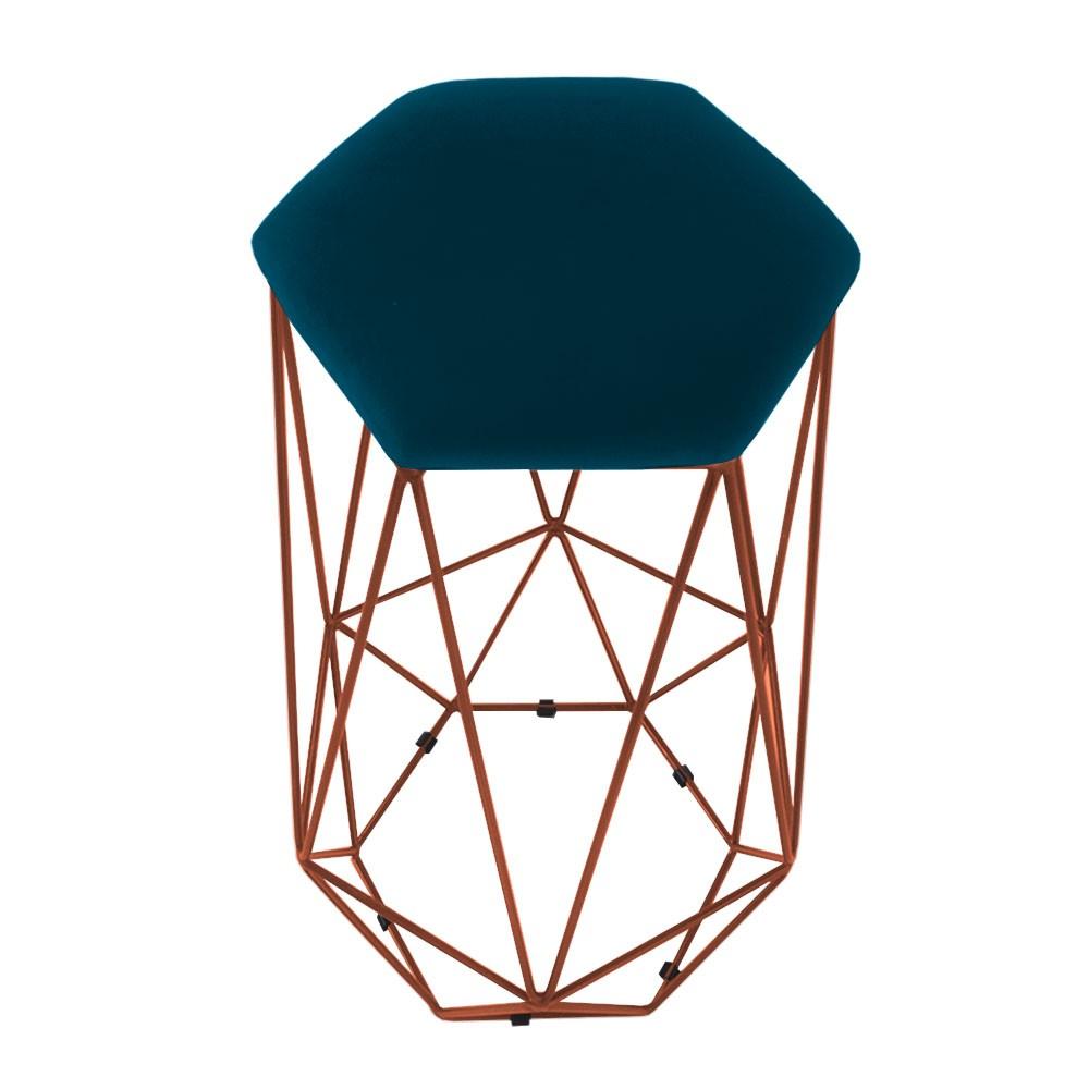 Puff Banqueta Aramado Eiffel Hexágono bronze Assento Azul Marinho