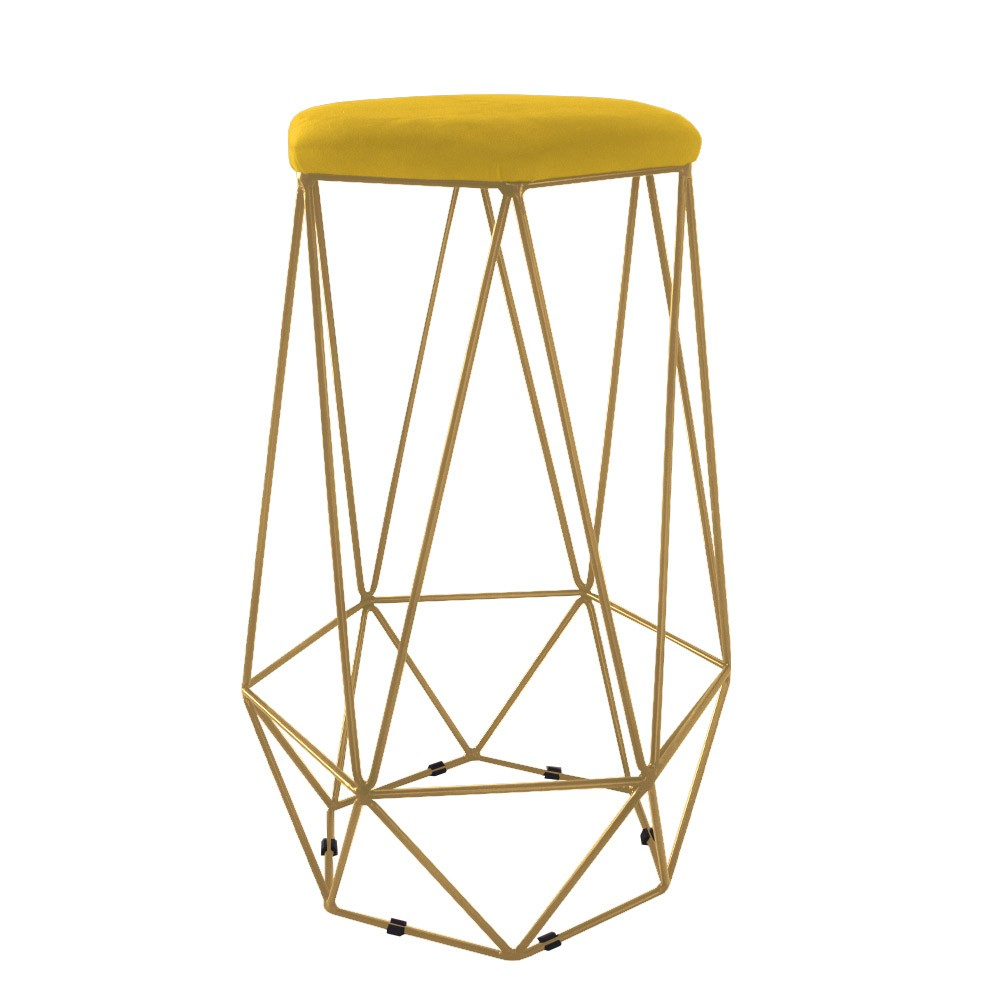 Puff Banqueta Aramado Eiffel Hexágono Dourado Assento Amarelo