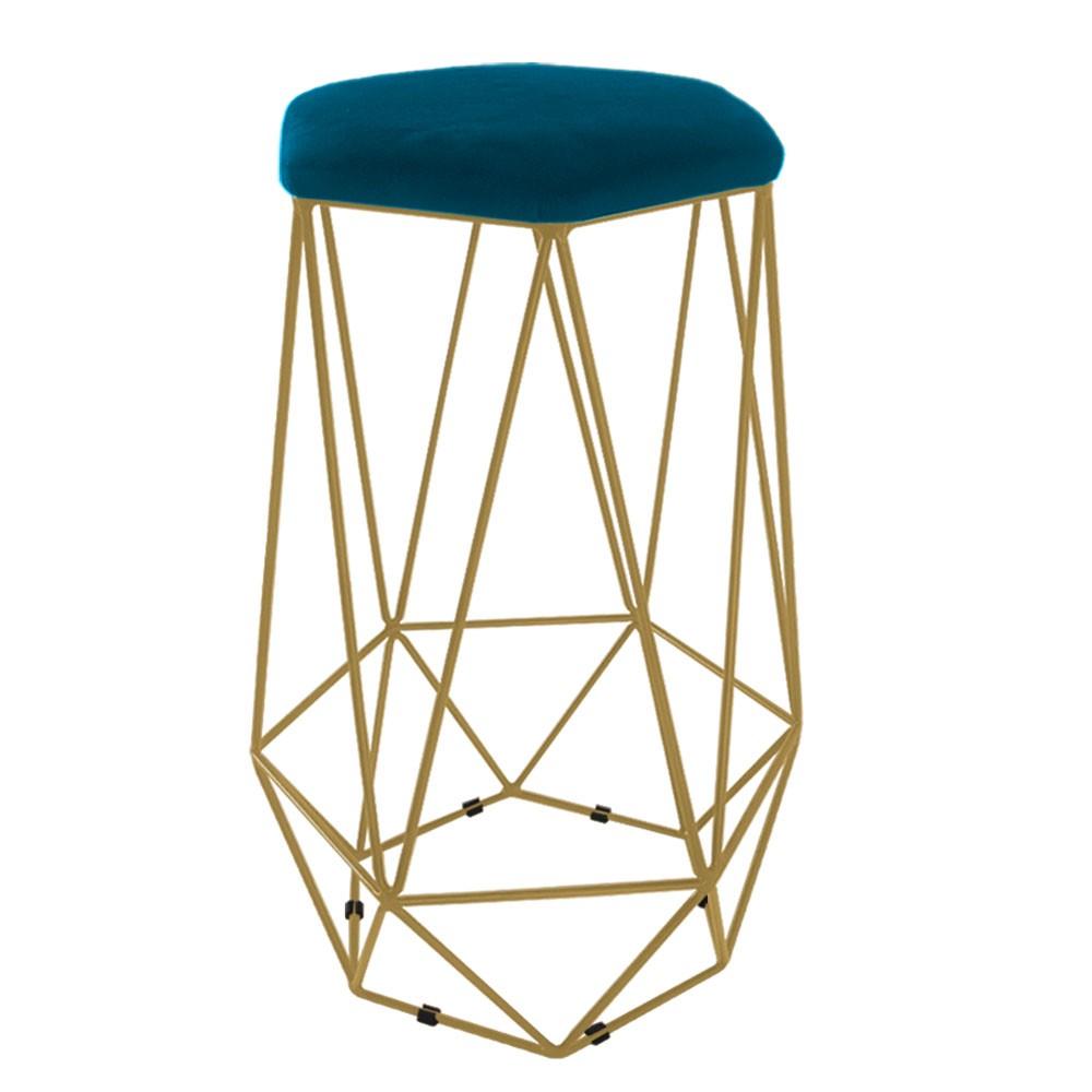 Puff Banqueta Aramado Eiffel Hexágono Dourado Assento Azul Marinho