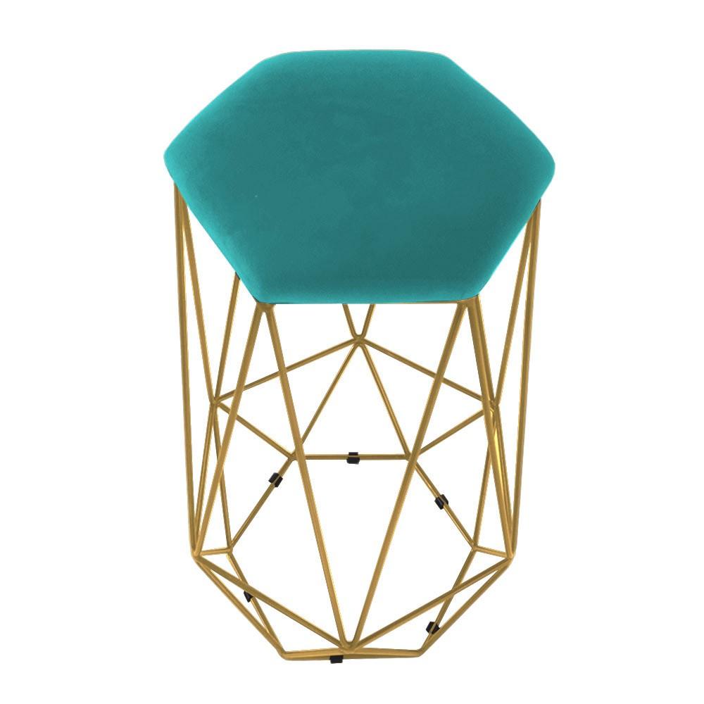 Puff Banqueta Aramado Eiffel Hexágono Dourado Assento Azul Tiffany