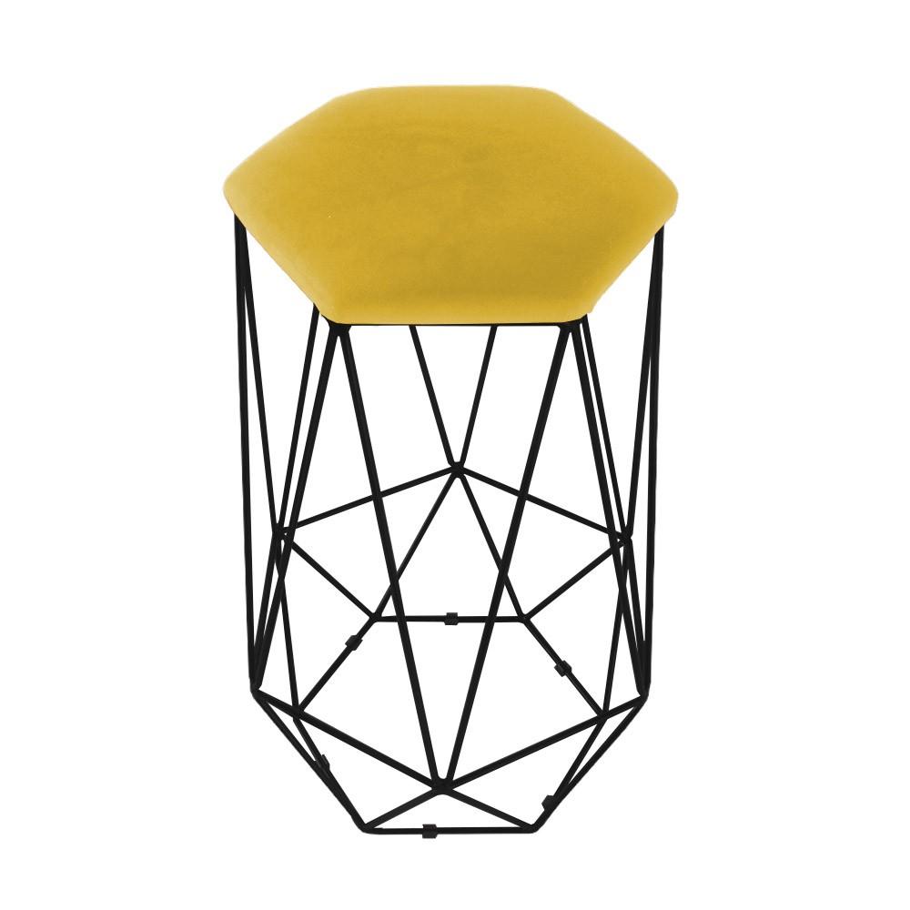 Puff Banqueta Aramado Eiffel Hexágono Preto Assento Suede Amarelo