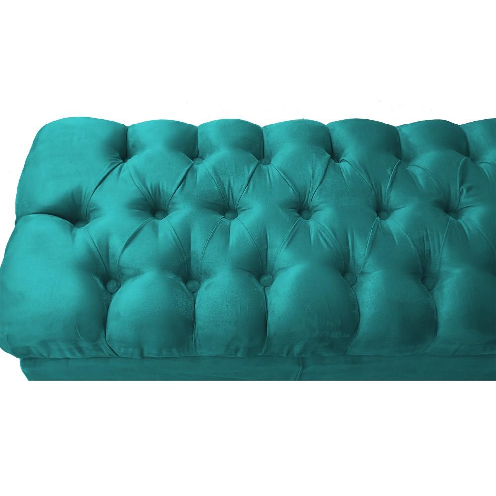 Puff Banqueta Retrô 100 cm Luiz XV com Capitonê Suede Azul Tiffany