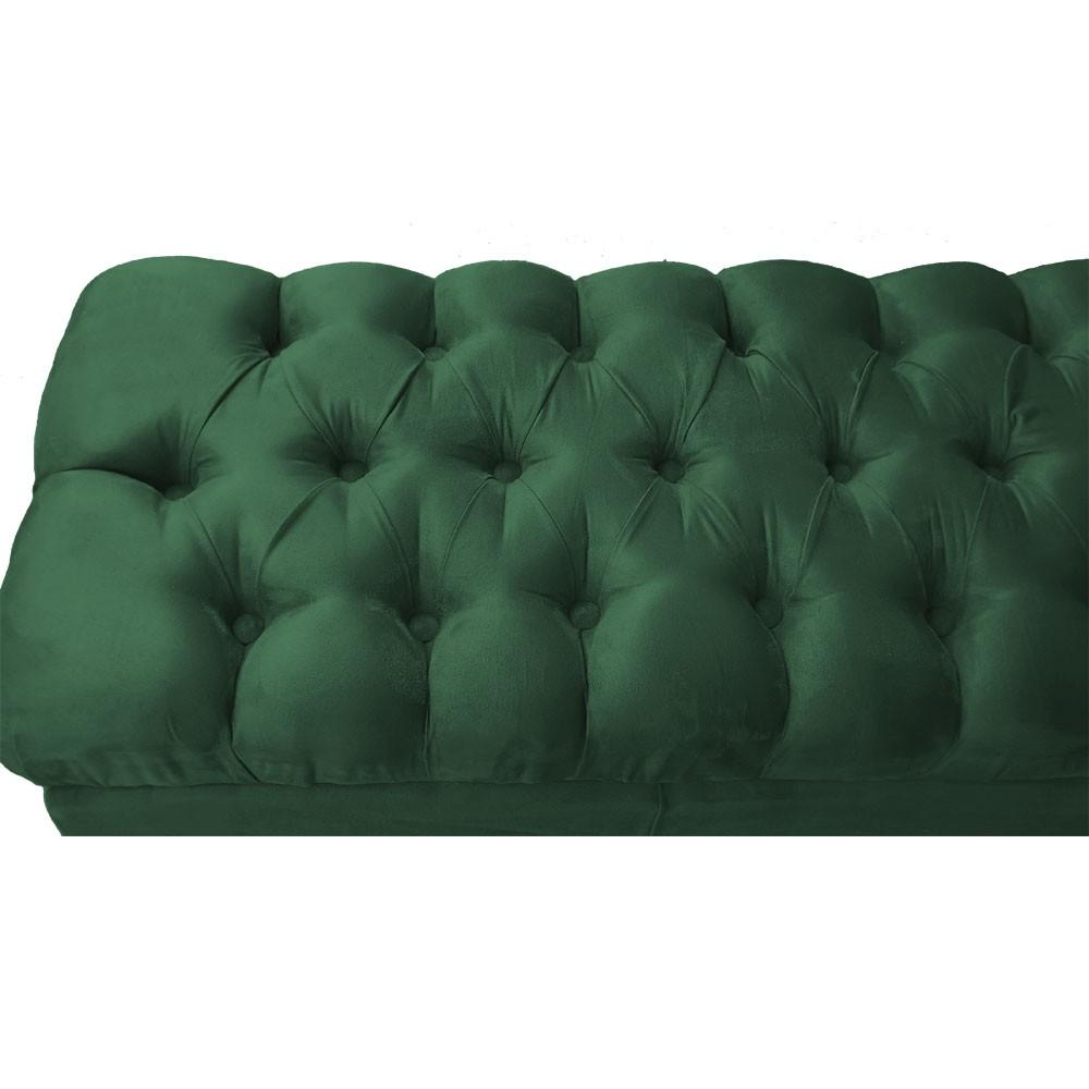 Puff Banqueta Retrô 100 cm Luiz XV com Capitonê Suede Verde Bandeira