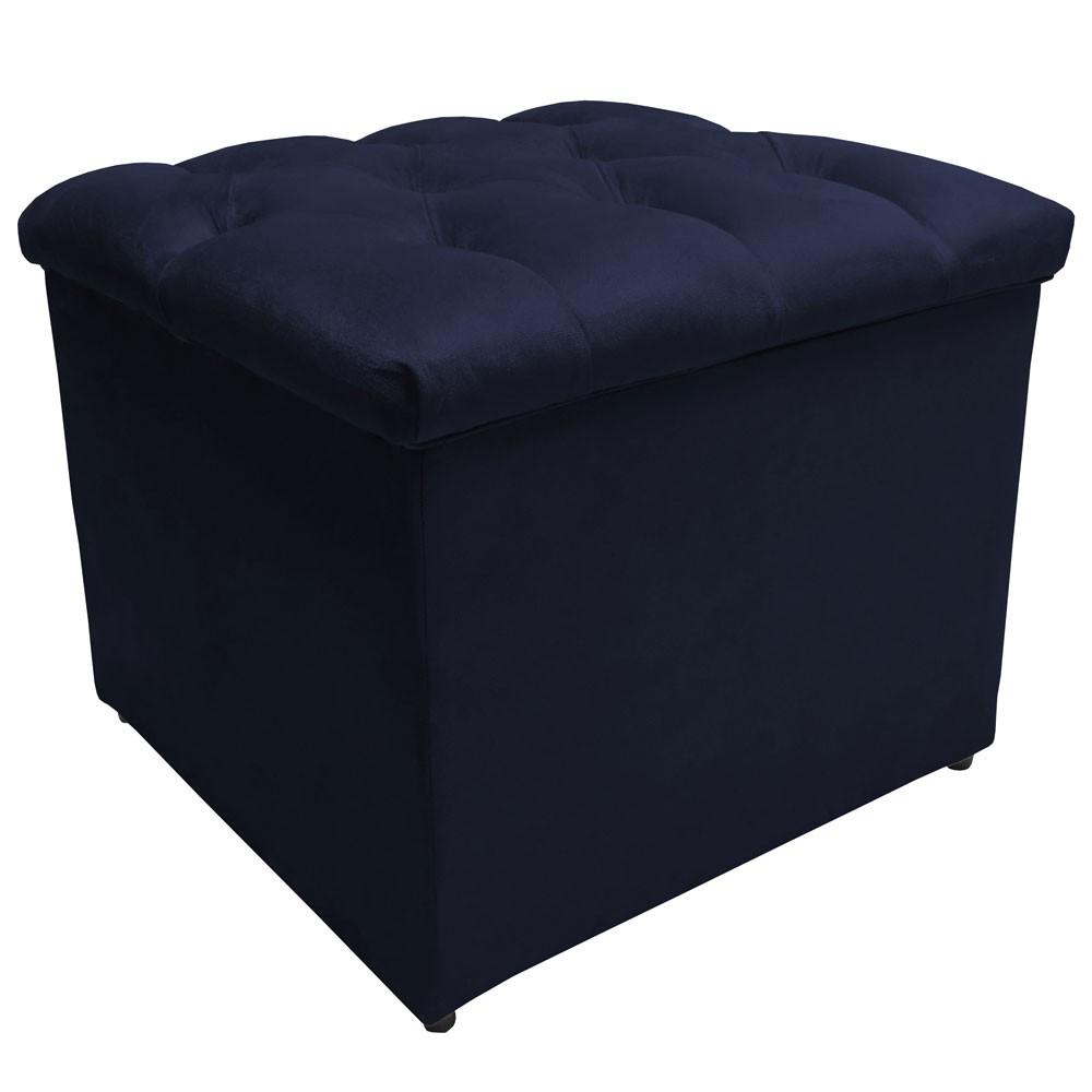 Puff Baú Decorativo Buzios Capitonê Suede Azul Marinho