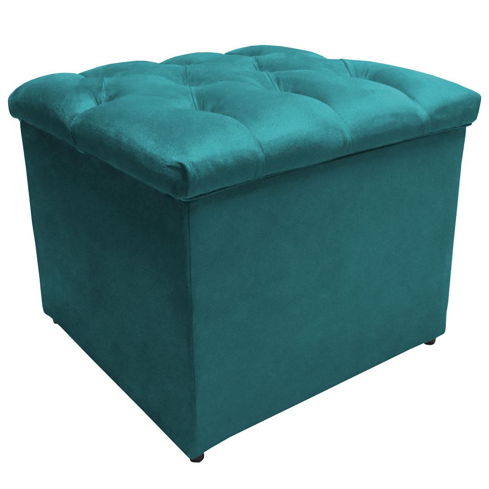 Puff Baú Decorativo Buzios Capitonê Suede Azul Tiffany