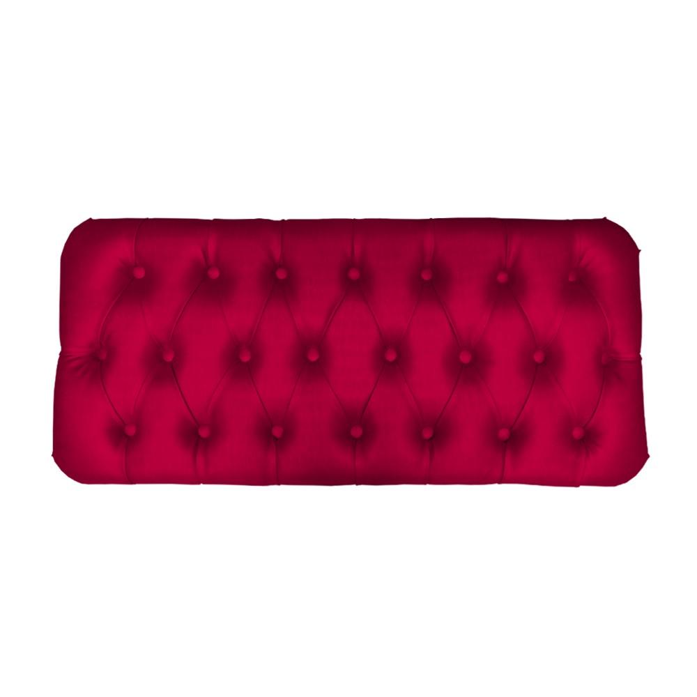 Puff Baú Retangular Retrô 100 cm Luiz XV Suede Acetinado Vermelho